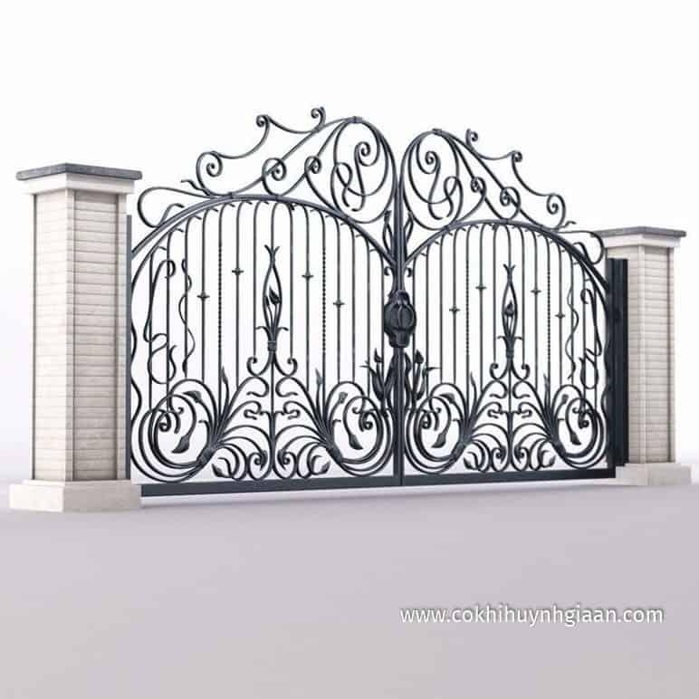 file Cổng nhà đẹp bằng sắt 2 cánh