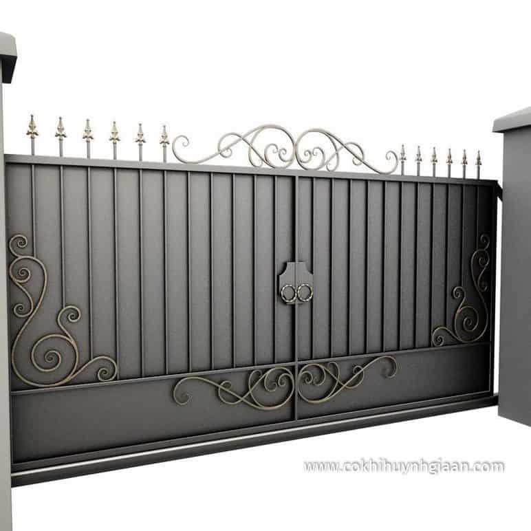 file 3D Cổng nhà đẹp bằng sắt 2 cánh