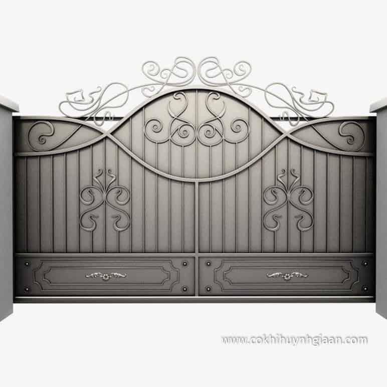 Mẫu thiết kế Cổng nhà đẹp bằng sắt 2 cánh