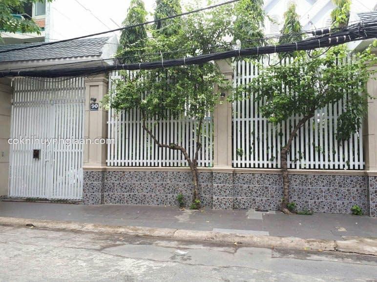 Hàng rào sắt pano đơn giản đồng bộ với cổng