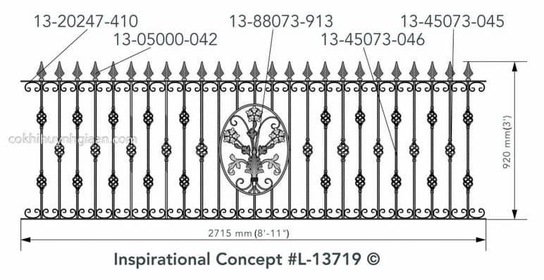 Bản vẽ kỹ thuật hàng rào sắt