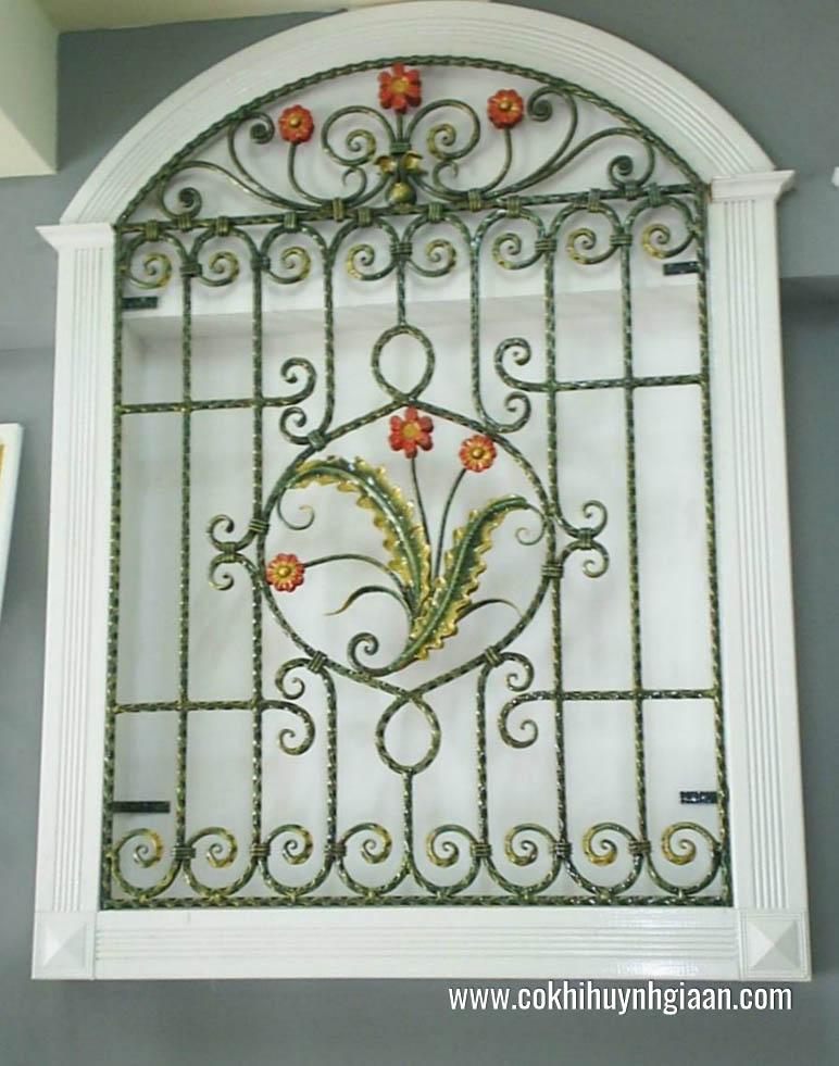 Hình ảnhmẫu hoa sắt cửa sổ đẹp hoa và lá
