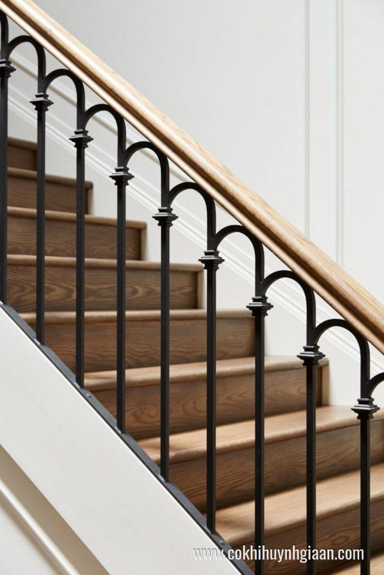 Mẫu cầu thang sắt nghệ thuật giả gỗ CT1115