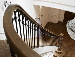 Mẫu cầu thang sắt nghệ thuật giả gỗ CT1116