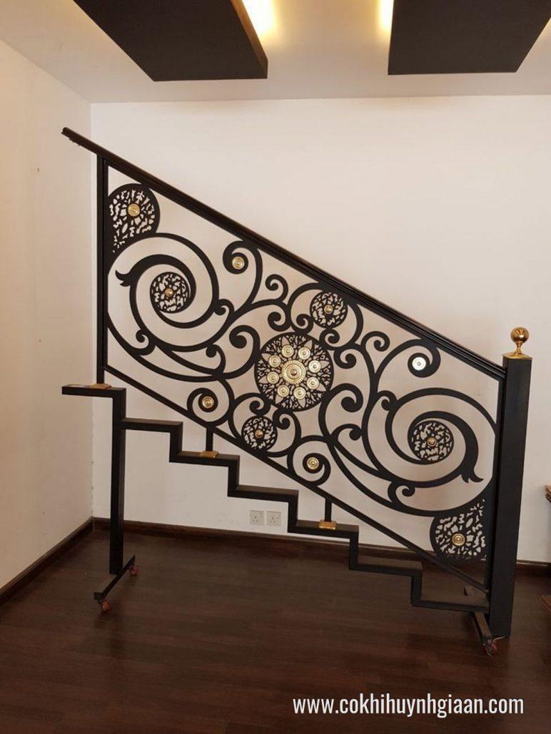 Cầu thang sắt hoa văn nghệ thuật CT1125